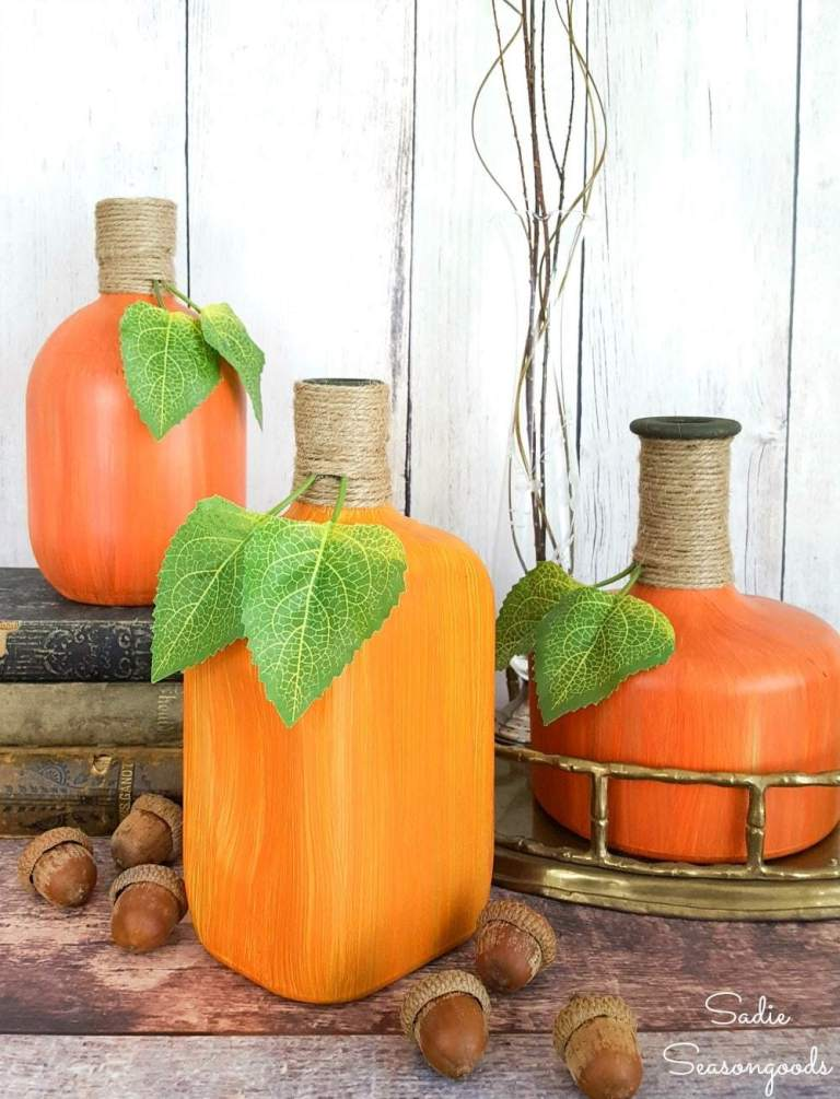 Painted Gourds From Glass Liquor Bottles
