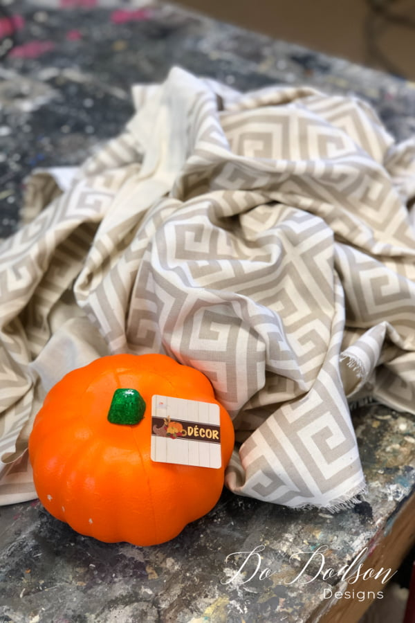 Why not cover up that ORANGE dollar tree pumpkin with beautiful fabric? That's what I'm doing right now. Come see!