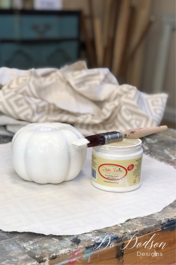 Chalk Mineral Paint covered this Dollar Tree Pumpkin well with one coat.