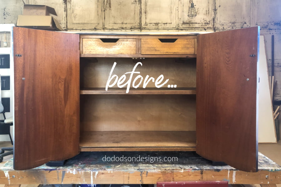 With a little paint and some furniture transfers you can transform bland wood furniture into amazing. The after on this buffet makeover is stunning.
