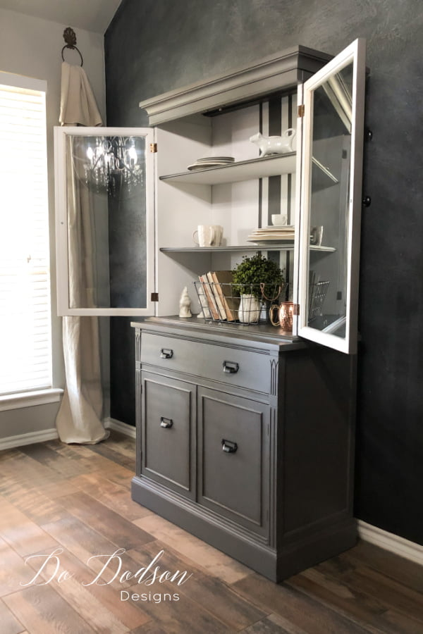 It turned out amazing! I'm so glad I chose to paint gray and white grain sack stripes inside this hutch.