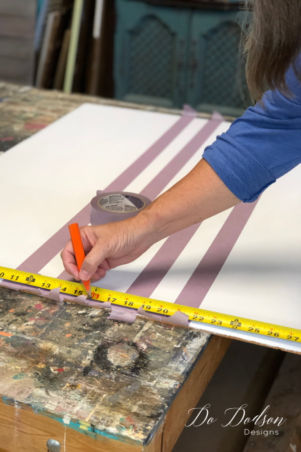 Measure the backer board of the hutch before taping off for grain sack stripes.