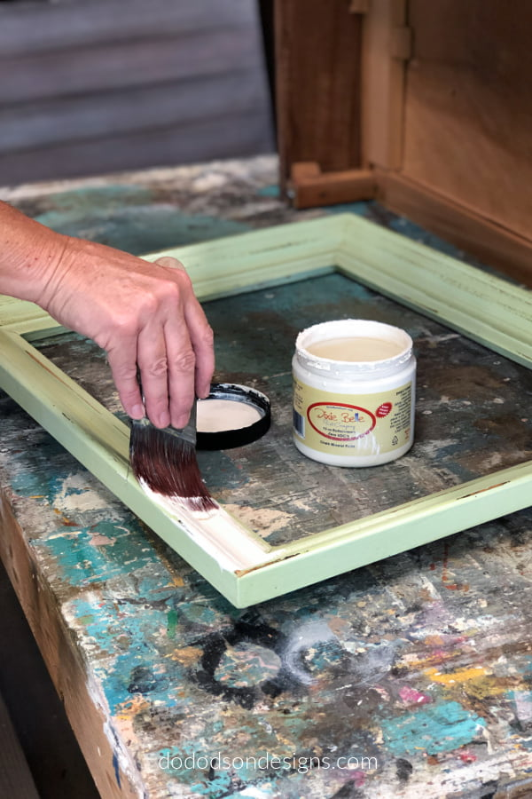 I used a vintage color chalk mineral paint for my DIY picture frame tray.