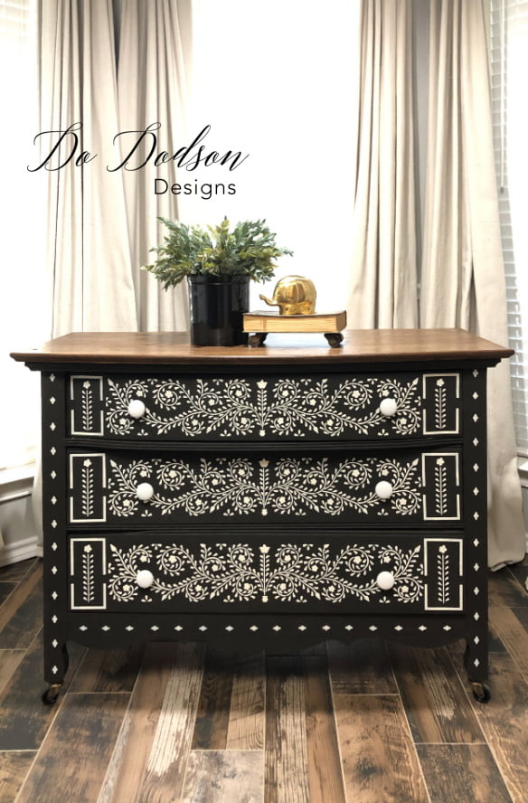 Save yourself $$$$ by creating your own DIY faux bone inlay dresser. I did this one with a stencil. Now it's a gorgeous statement piece.