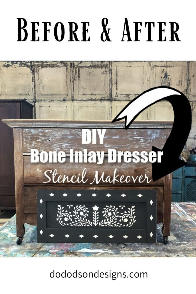 Before and After DIY Bone Inlay  Dresser Makeover