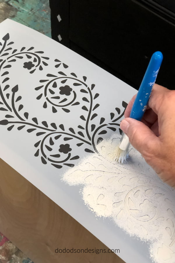 Use a good stencil brush with minimal paint for the best results on the Raja Bone Inlay Stencil.