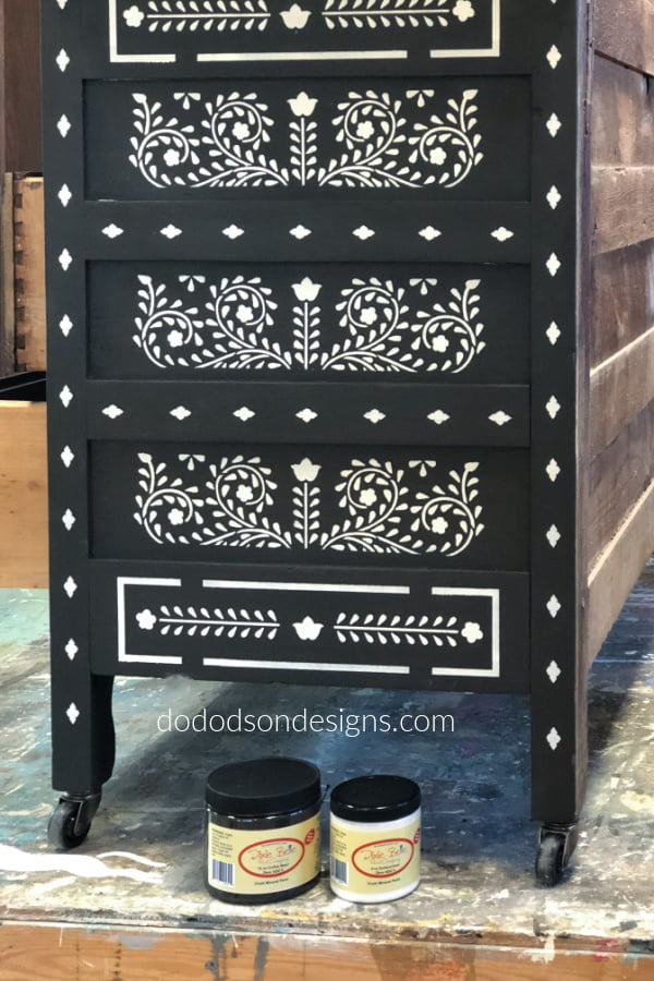 I use chalk mineral paint for my stenciling projects. This DIY Bone Inlay dresser looks amazing and so authentic.