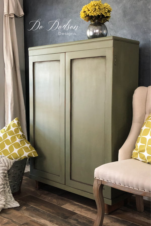 Olive Green Chalk Painted Cabinet