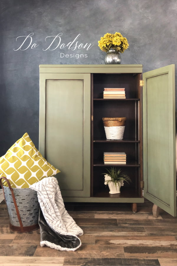 This olive green chalk paint on this cabinet looks gorgeous paired with the chartreuse accents.