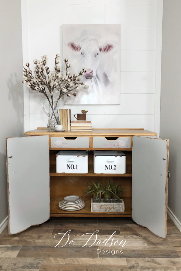 The inside of this buffet server table got a makeover too with chalk mineral paint and furniture transfers.