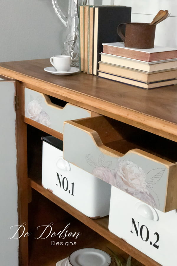 The inside drawers got a makeover too with chalk mineral paint and furniture transfers.