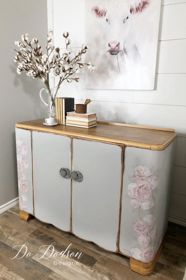 Get this chic farmhouse look with furniture transfers and chalk mineral paint on your next furniture makeover.