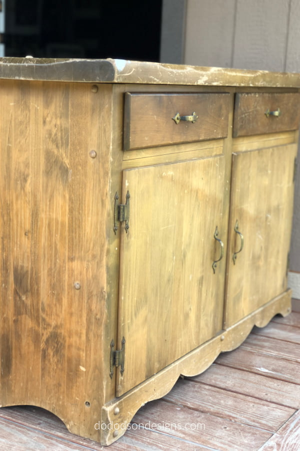 Don't walk away from these old cabinets. I flipped this one into a DIY rolling island that turned out amazing.