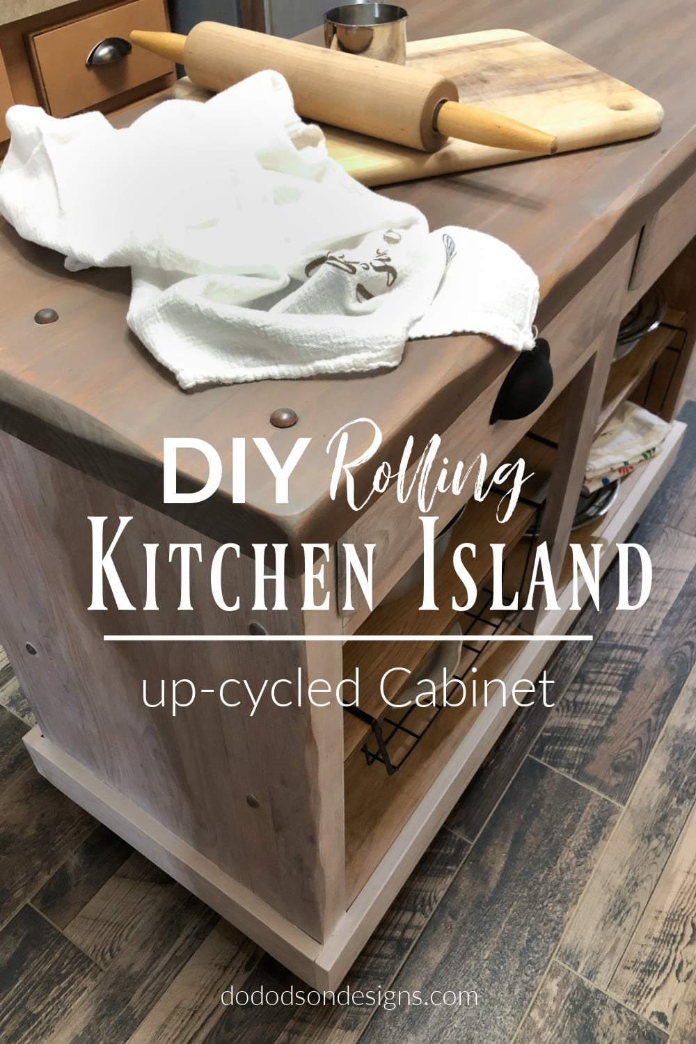 DIY Rolling Kitchen Island | Upcycled Cabinet Project