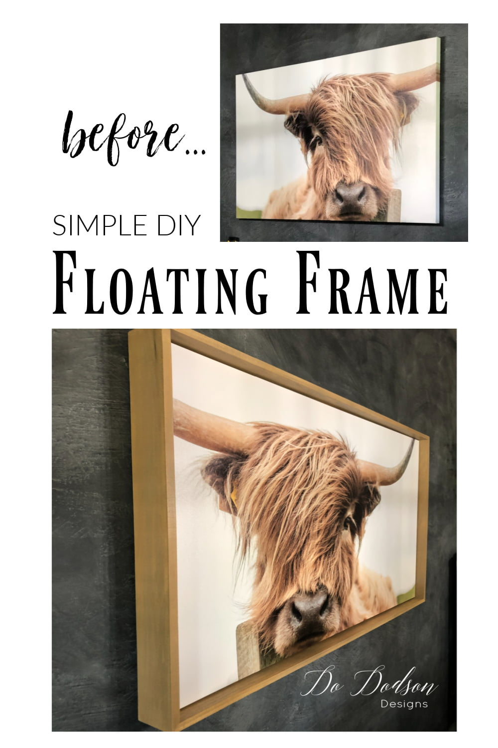Simple DIY Floating Frame For Canvas