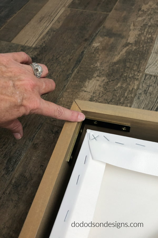 L brackets will help to create a gap inside the frame to give the appearance of a floating frame for my canvas art.