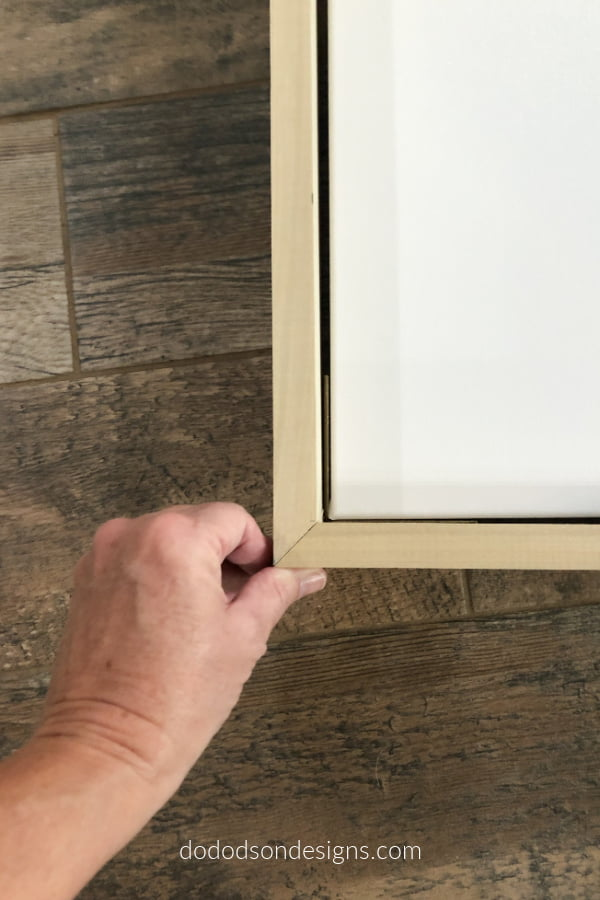 A frame for canvas art can can built with a few simple cuts. Get my DIY tutorial now on the blog.