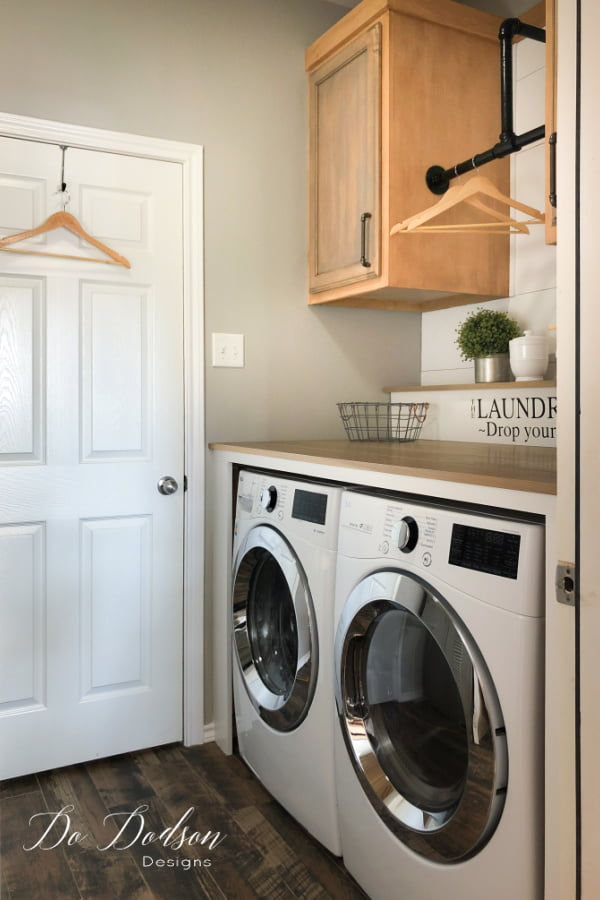 Our laundry makeover was a huge success in this small space. We now have a folding station as well as the extra storage we needed.