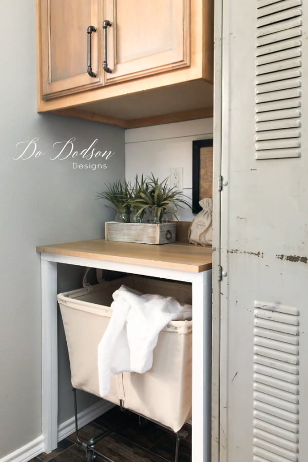 Adding these vintage lockers was one of my favorite additions in our laundry room makeover. It gave us the extra storage space we needed in a small space.