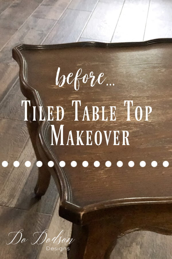 Before and after... DIY tiled table top makeover.