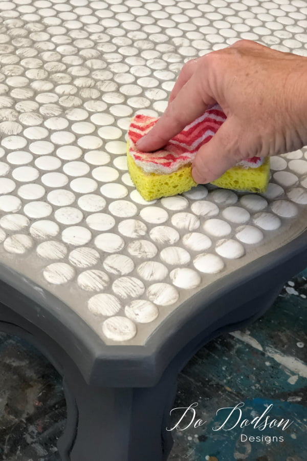 I love the look of these penny tiles and this will be a beautiful tiled table top when I'm done.