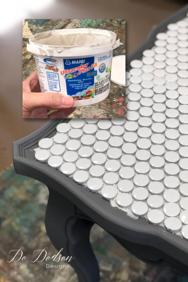 Adding the grout to a tiled table top has never been easier. Easy to mix grouts come in different colors that compliment your design.