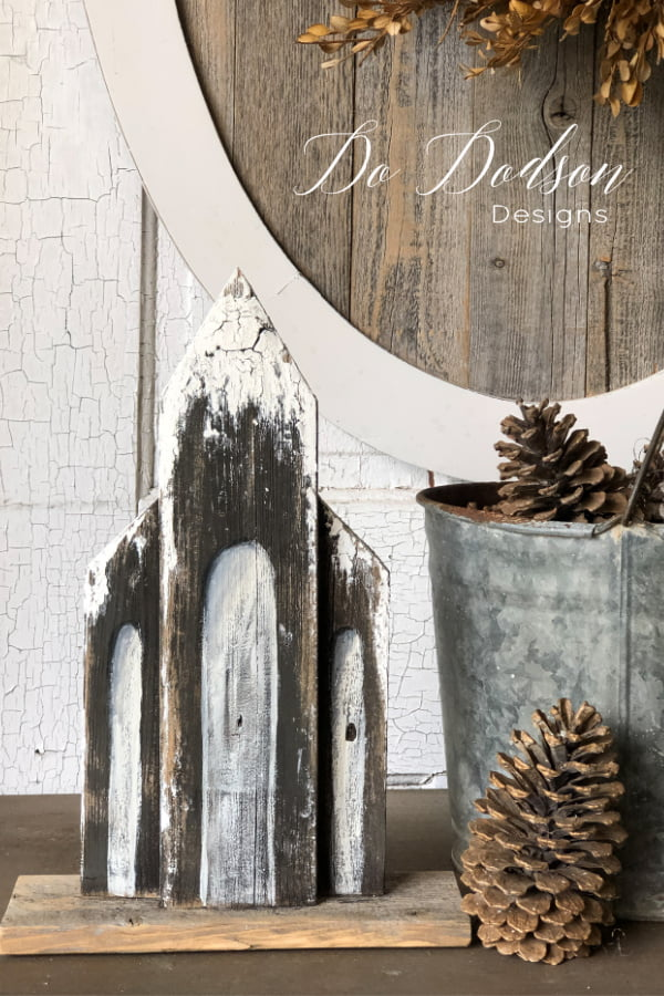Snow-kissed Wooden Churches... easy DIY craft project.