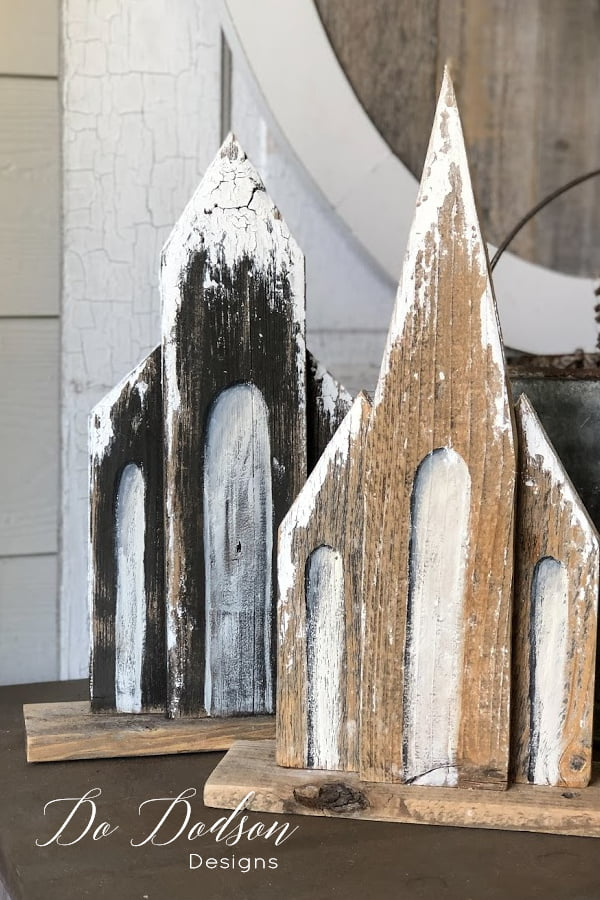 Easy DIY rustic wooden churches with a snow-kissed winter vibe. A fun craft for anyone that loves a good DIY reclaimed wood project.