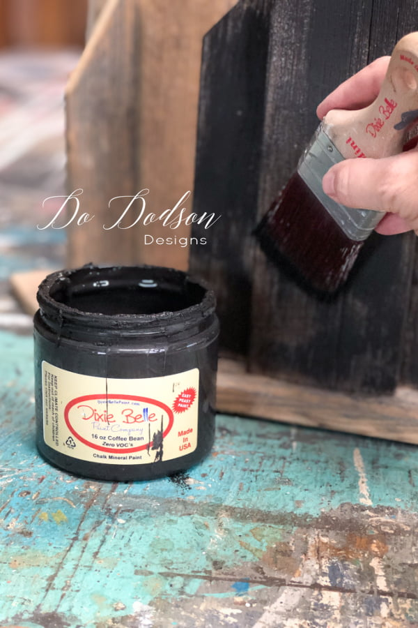 Chalk Mineral Paint was used on the wood using a dry brush technique.