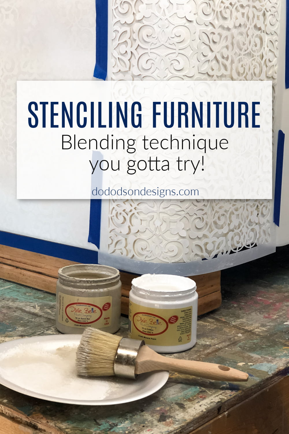 Easy DIY Chalk Paint Stenciling For Furniture