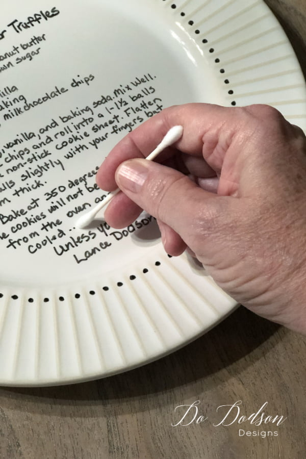 Correct minor mistakes using a q-tip and rubbing alcohol before the permanent maker dries on the plate.