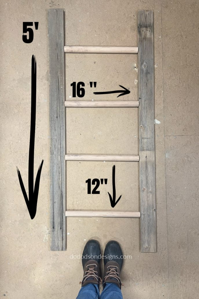 This may be simplistic but it works for me. I like to layout the wood on the floor like a puzzle and line it all up. I just can't see it in my head like most builders. So, here is how I find the centers for my rungs on a DIY blanket ladder.