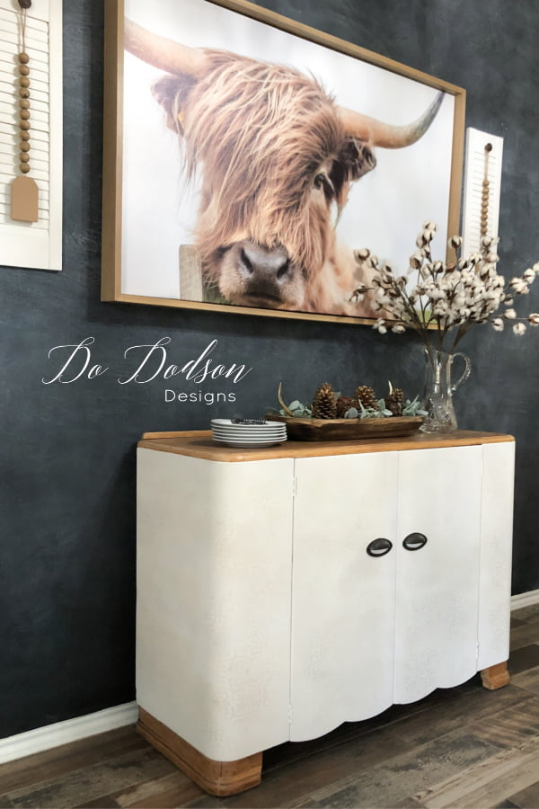 Chalk Painted buffet table using a combination of neutral colors including Butter Cream, Cotton and Sand Bar by Dixie Belle Paint Co.