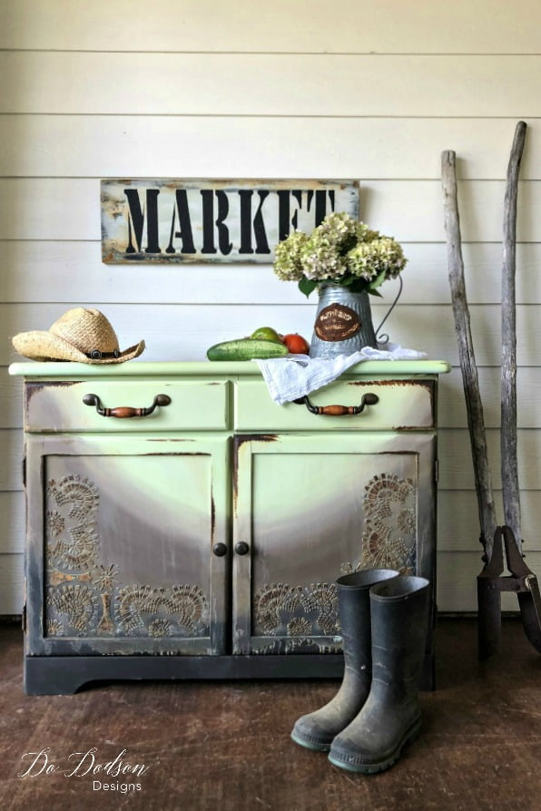 Love me some farmhouse! This cabinet was refurbished using a chalk paint combination of farmhouse green, chocolate brown and black caviar by Dixie Belle Paint Co.
