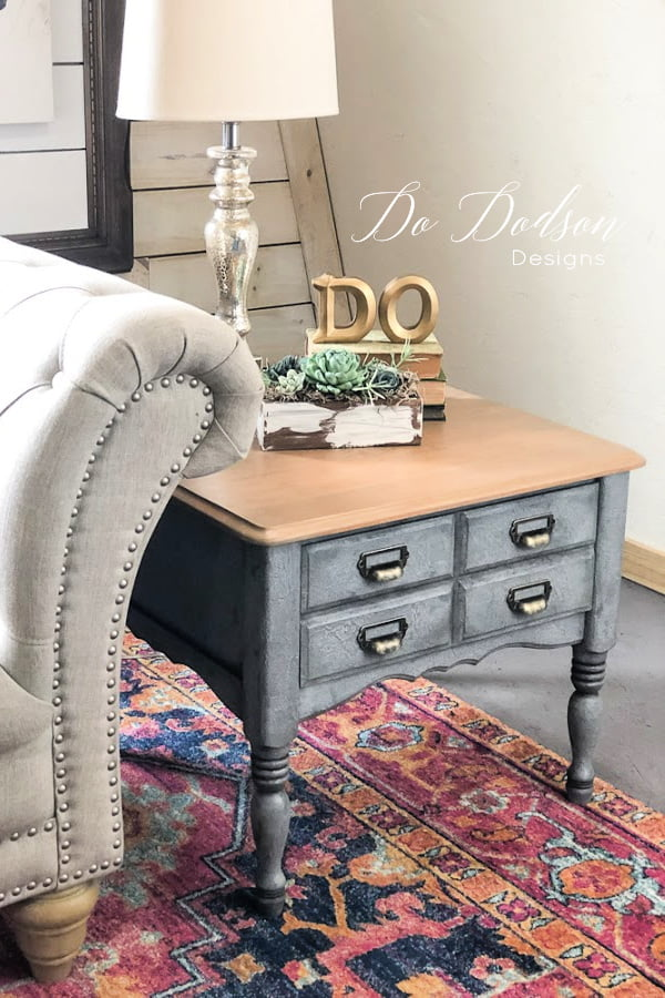 If you look closely you'll see an amazing texture on this end table. I used Dixie Belle texture additive with my chalk paint to make this beautiful gray finish.