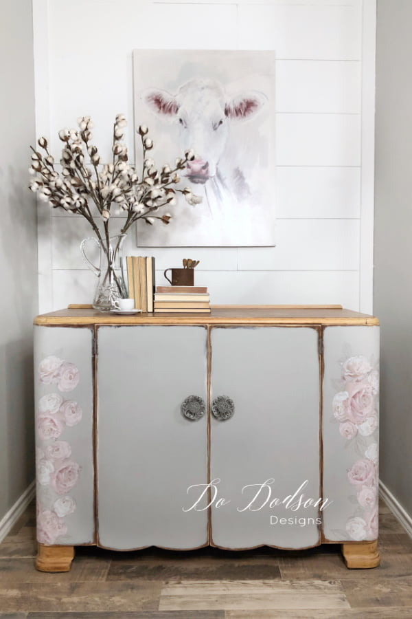Farmhouse gray chalk paint pared with these soft pink roses transfer works well this shabby chic setting.