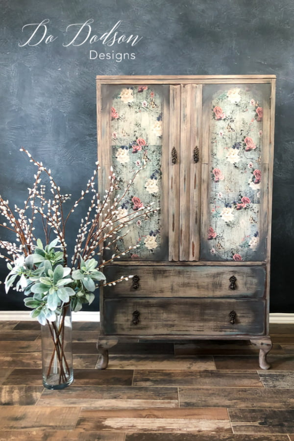 One of my favorite furniture transformations is this vintage armoire chest. I used a combination of chalk paint colors and a floral transfer to achieve this farmhouse look.
