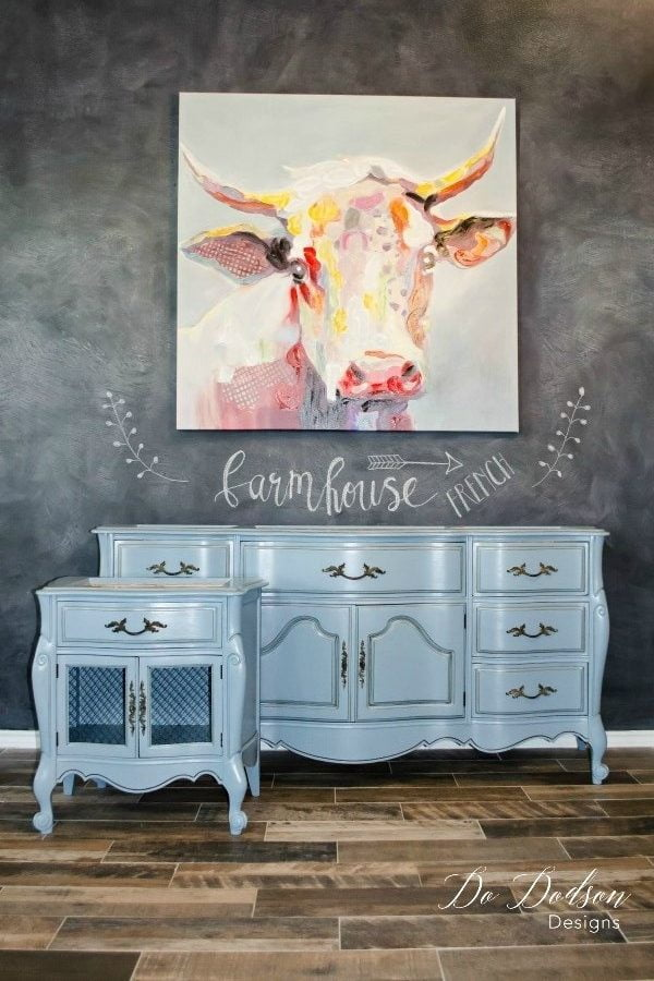 This french farmhouse inspired dresser and end table makeover was refurbished with Dixie Belle chalk paint. I mixed the 2 colors of vintage duck egg and cobalt blue to get this beautiful soft color.