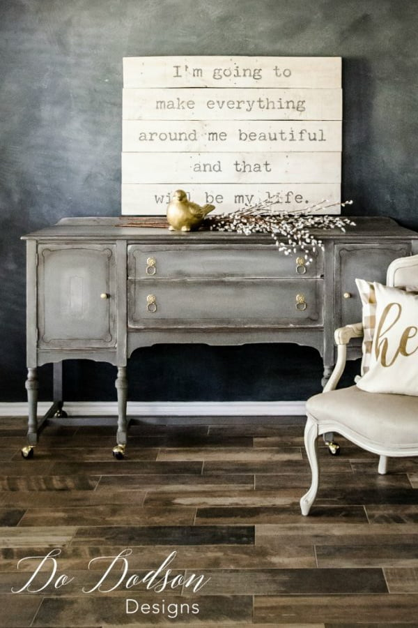I have always been drawn to these vintage buffet - sideboards.  This one has been refurbished a couple of time. It still looks great!