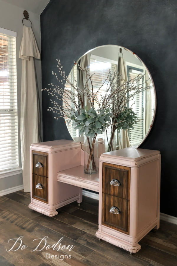 These vintage vanity dressers are screaming for someone to come save them. I'm doing my part! This one was refurbished with gel stain and chalk paint.