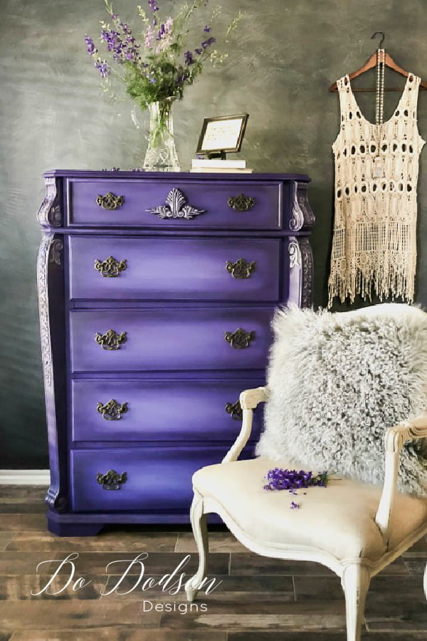 I NEVER dreamed that Dixie Chalk Paint in this Amethyst color would look this amazing on my furniture.