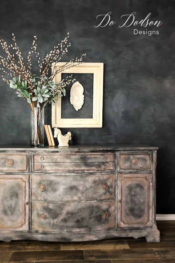 I used a combination of chalk paint colors and waxes from Dixie Belle to create this unique old world feel.