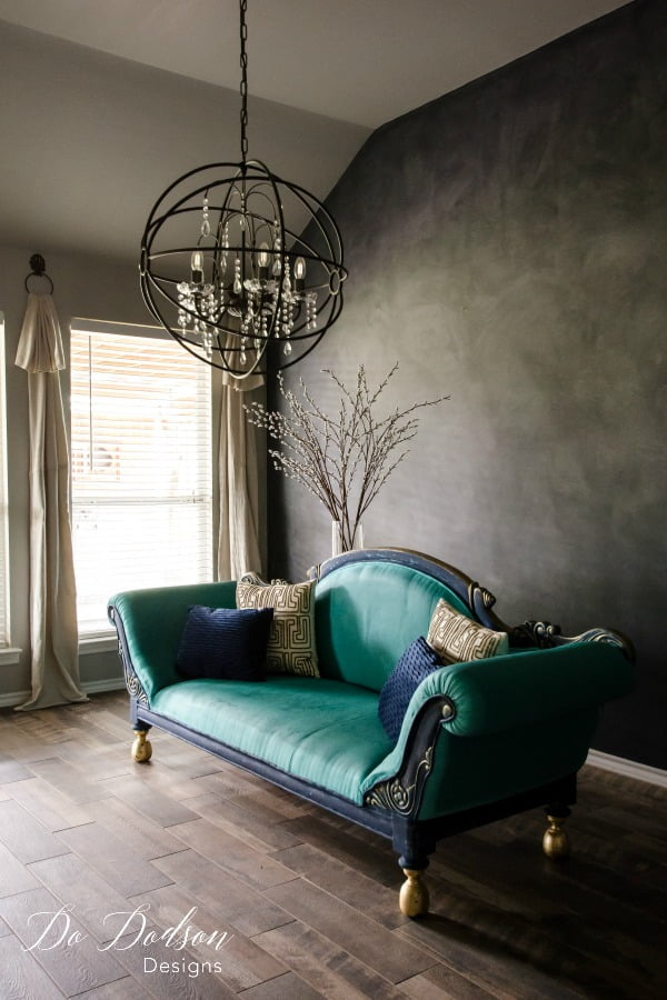 I could just faint on this painted sofa all day long! Yep, the fabric has been updated with chalk paint and sealed with wax. Super durable and just wipes clean. No, the color will not rub off on your clothes.