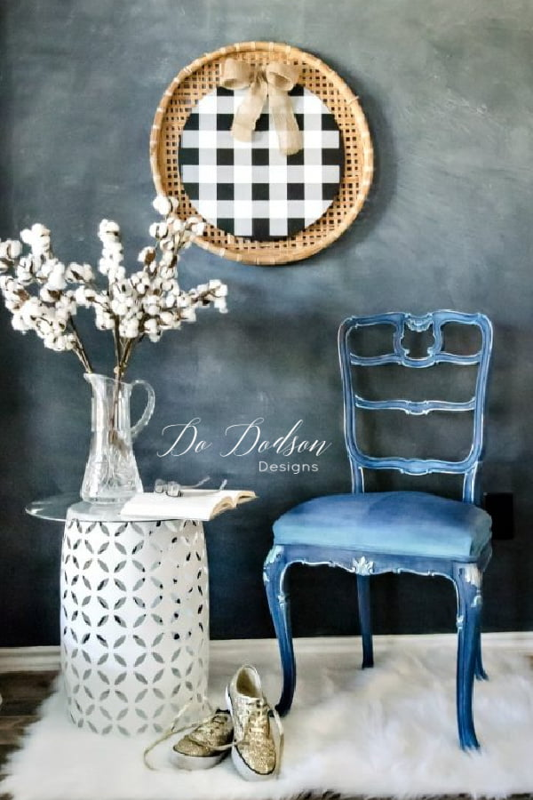 Yes, you can paint fabric on a chair! I do it all the time with chalk paint. Try using Dixie Belle and just have fun with all the colors.