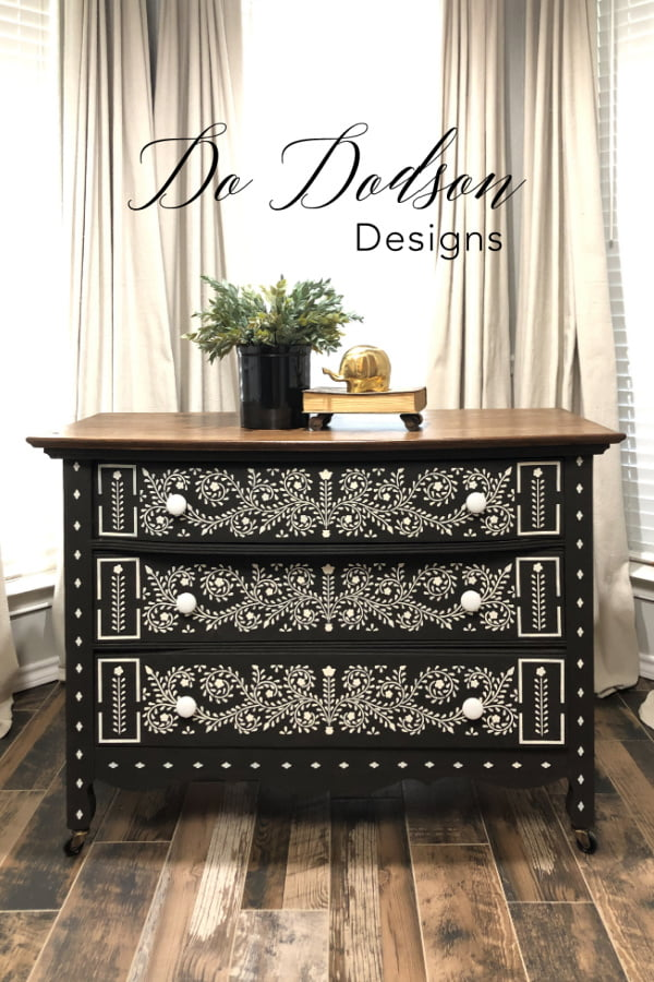 Caviar for the win! This amazing black chalk paint from Dixie Belle is the perfect background for stenciling this bone in lay pattern. Classic!
