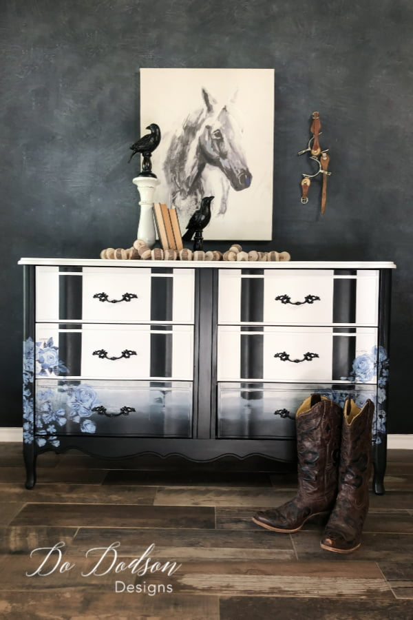 The BOLD black stripes on this dresser and the softness of the blue floral furniture transfers make this a unique and one of a kind makeover.