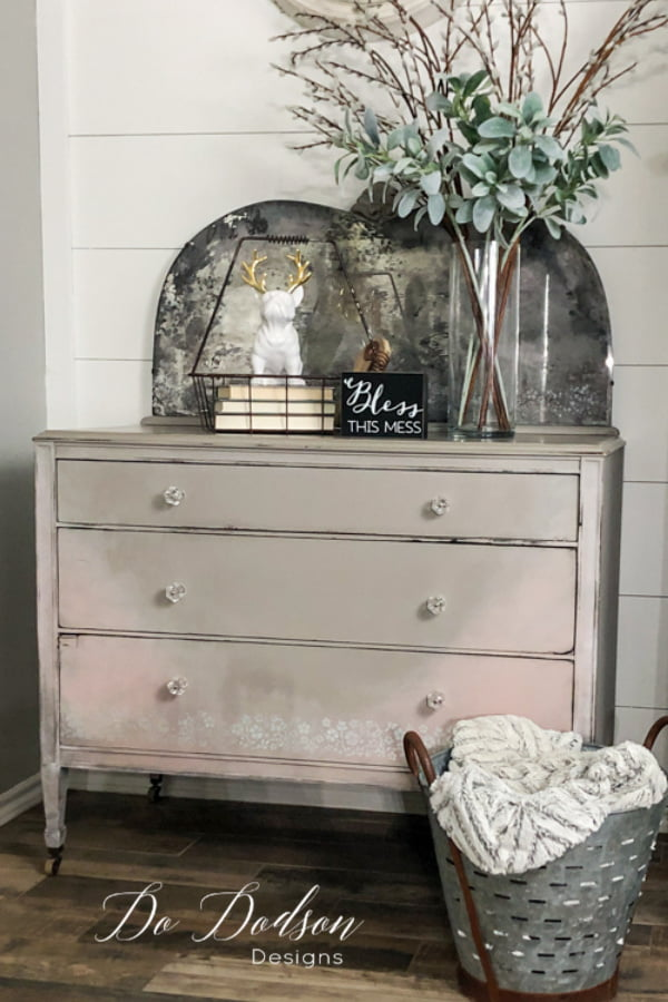Vintage Dresser Makeover using Gray and pink chalk paint.