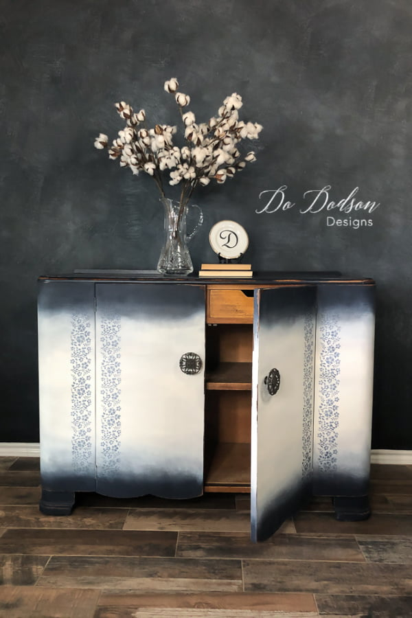 Vintage buffet table refurbished with chalk paint and stencils.