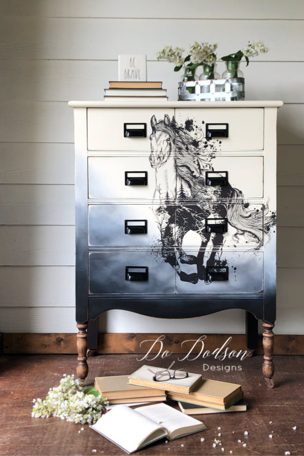 Chalk painted dresser with Dixie Belle Paint and embellished with a furniture transfer by Hokus Pokus.