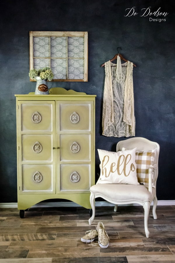 Holy Guacamole Bat man! This green chalk mineral paint by Dixie Belle looks delicious on this cabinet makeover.